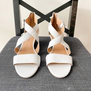 Lucky Brand Jenley Wedge Sandal 8M White Leather